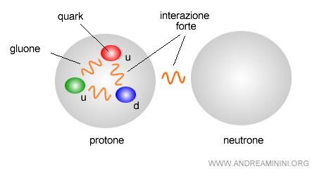 un esempio di interazione forte tra due particelle e tra tre sottoparticelle ( quark )