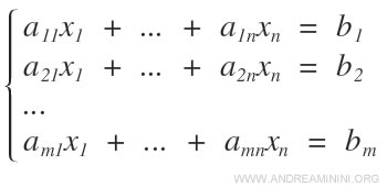 un esempio di sistema di equazioni lineari